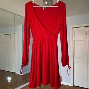 ASOS Long Sleeve Red Fit and Flare Dress-Like New